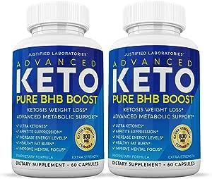 Advanced Keto Pure BHB Boost Pills Enhanced Ketogenic Supplement Real Exogenous Ketones Ketosis for Men Women 60 Capsules 2 Bottles