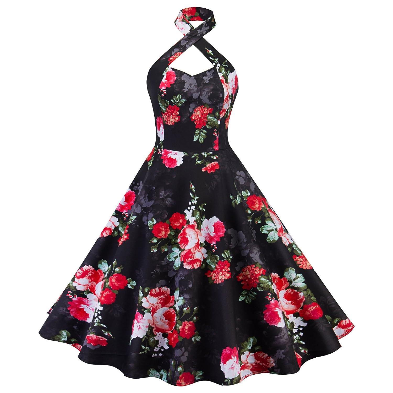 BIUBIU Women's 1950s Retro Dress Vintage Floral Flared A-line Midi Swing Dress BIUBIUD9753E3C