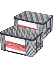 Onlyeasy Foldable Storage Bag Organizers, Breathable Household Home Organizers Bins for Duvet Clothes Blankets Comforters Quilts with Large Clear Window