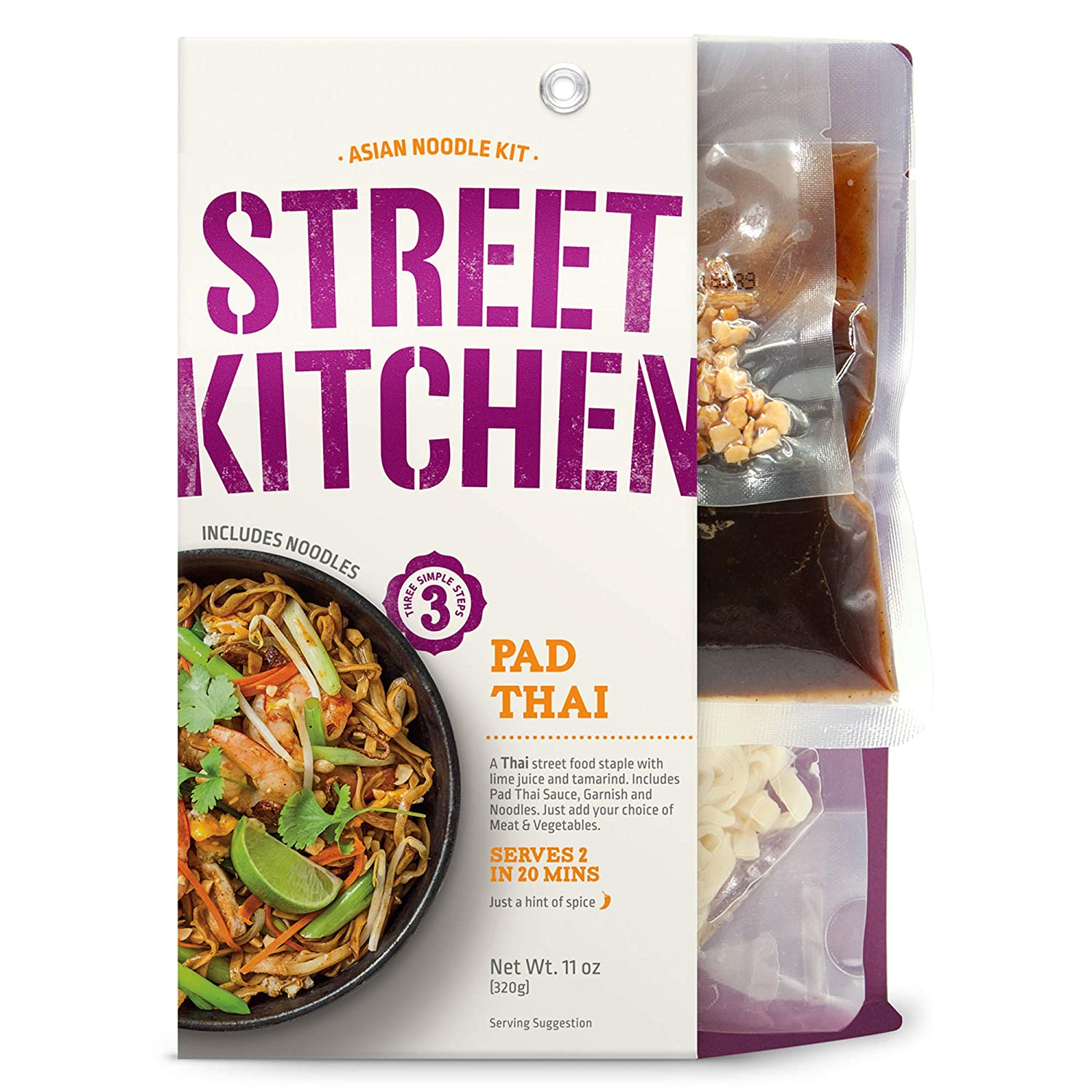 Passage Foods Street Kitchen Pad Thai Noodle Scratch Kit, NON-GMO, & BPA Free 11oz, Pack of 4