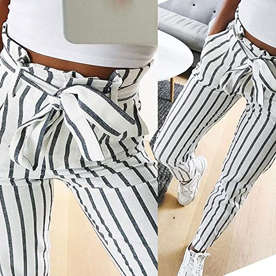YKARITIANNA Womens Bow Tie Hot Skinny Women Striped Long Jeans Tie High Waist Ladies Pants Trouser at Amazon Womens Jeans store