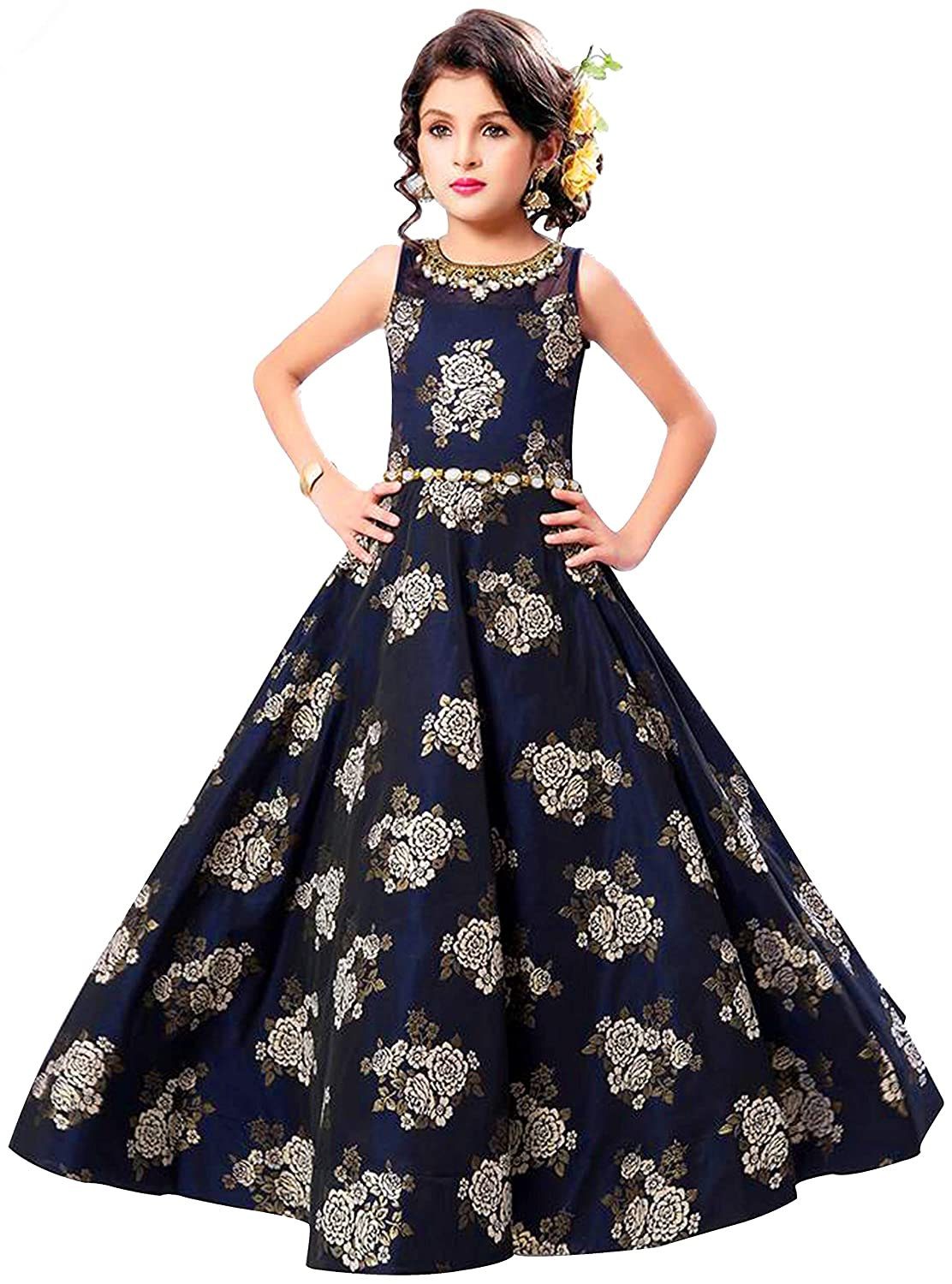 f405afbb2 Cartyshop New Navy Blue Flower Fusioning Jacquard N Belt Party wear ...