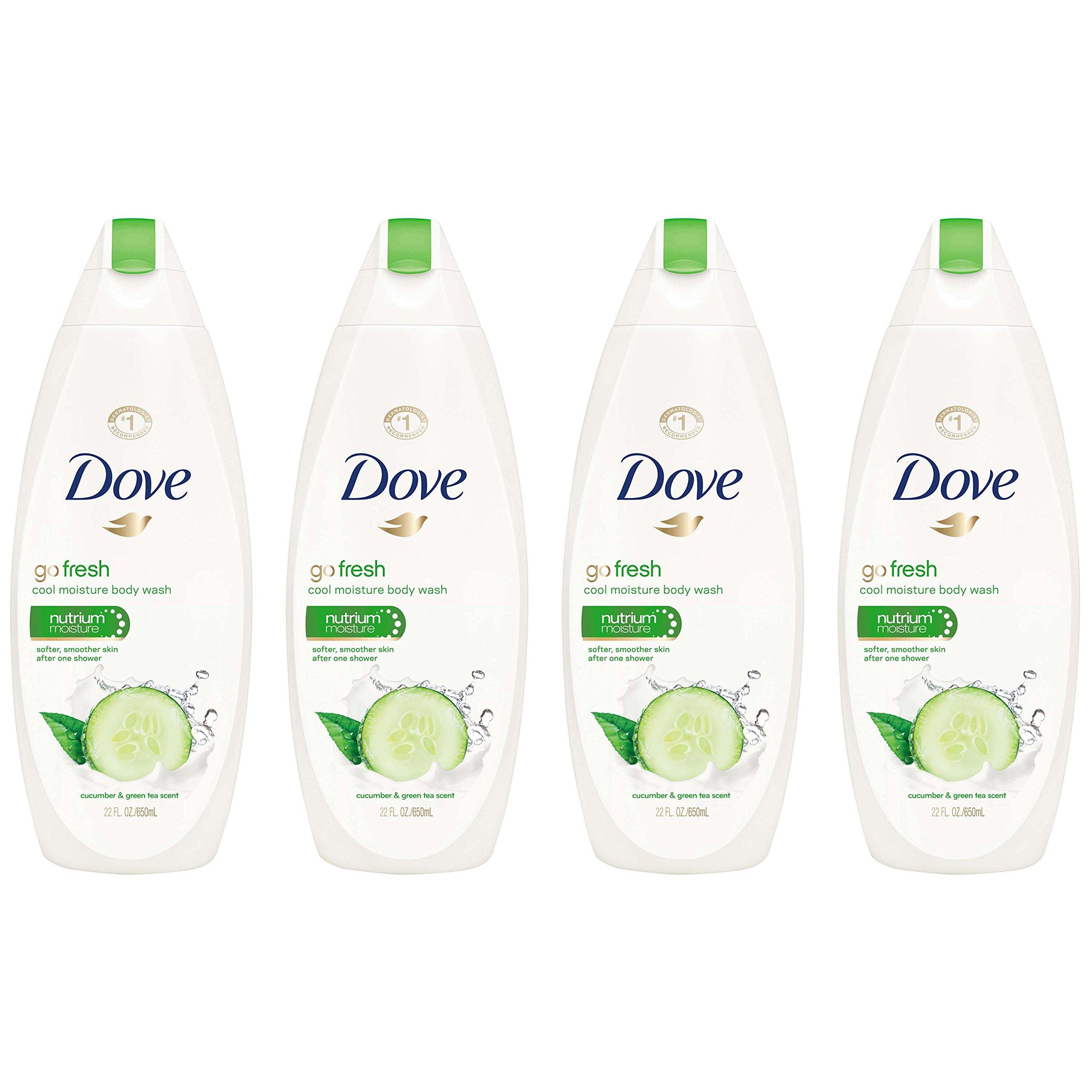 Dove go fresh Body Wash Cucumber and Green Tea 22 oz, Pack of 4