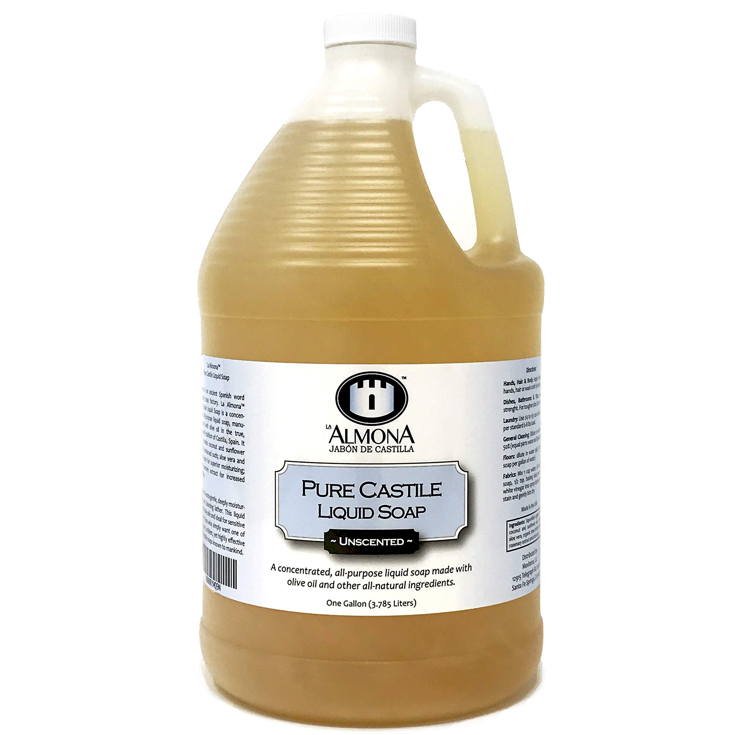 La Almona - Pure Castile Liquid Soap (Unscented), 1 Gallon by La Almona