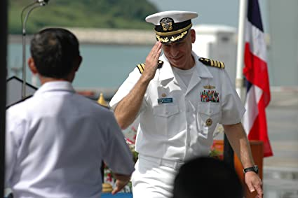 U S  Navy Capt  Paul Schlise, right, the commander of