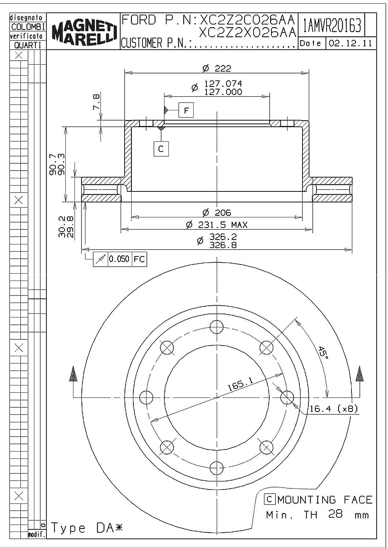Magneti Marelli by Mopar 1AMVR20163 Disc Brake Rotor