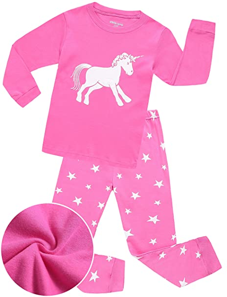 3f74bfe4ff Girls Pajamas Sleepwear Clothes 100% Cotton PJS for Toddlers Children Kids  Unicorn Pattern (2T