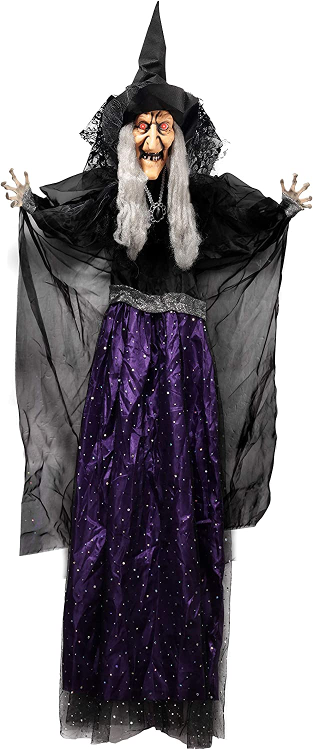 "47"" Hanging Animated Talking Witch Decoration with Light-up Eyes and sound activation function for Halloween Haunted House Prop Décor, Halloween Hanging Decorations, Outdoor/Indoor, Lawn Decor"
