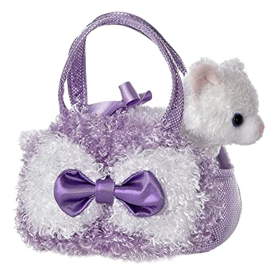Aurora World Fancy Pals Plush Curly Lavender Pet Carrier Purse: Toys & Games