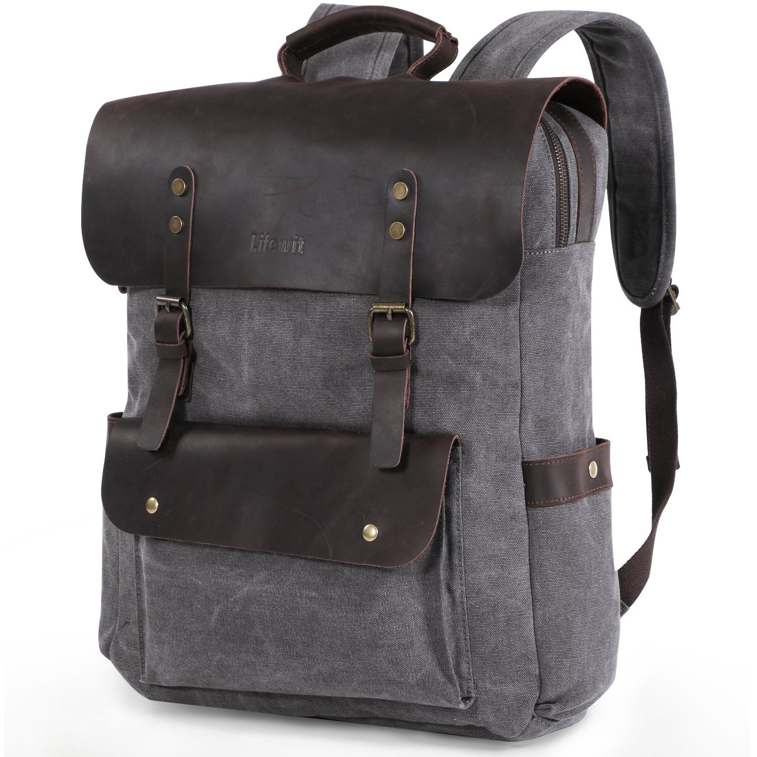 Lifewit 17.3 inch Leather Laptop Backpack Vintage Canvas Casual School Collage Bag Travel Rucksack