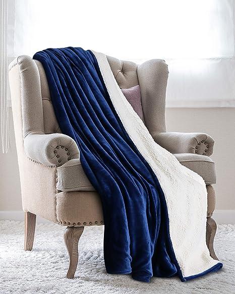 Utopia Bedding Mantas Reversibles de Franela Sherpa (150 x 200 cm) - Azul Marino - Tela de Cepillo Extra Suave, Súper cálida, Mantas para sofás ...
