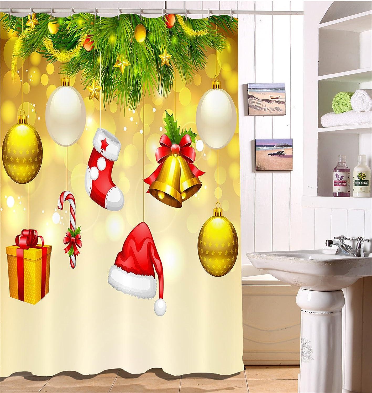 Frohe Weihnachten Duschvorhang Haus Dekor,Weihnachtssocken, Goldene ...