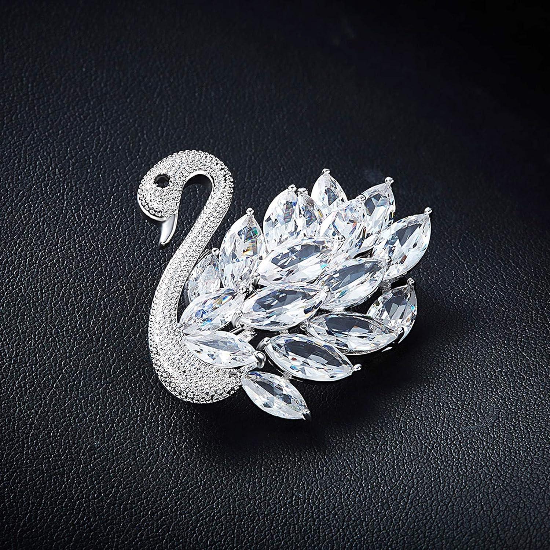 KnSam Crystal from Austrian Marquise Cut Rhinestones Swan Brooch Pin Bouquet
