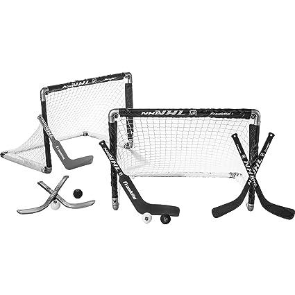 886d3f41c35 Amazon.com   Franklin Sports Mini Hockey Goal Set Of Two - NHL Approved -  Black - Includes 2 Mini Hockey Goals