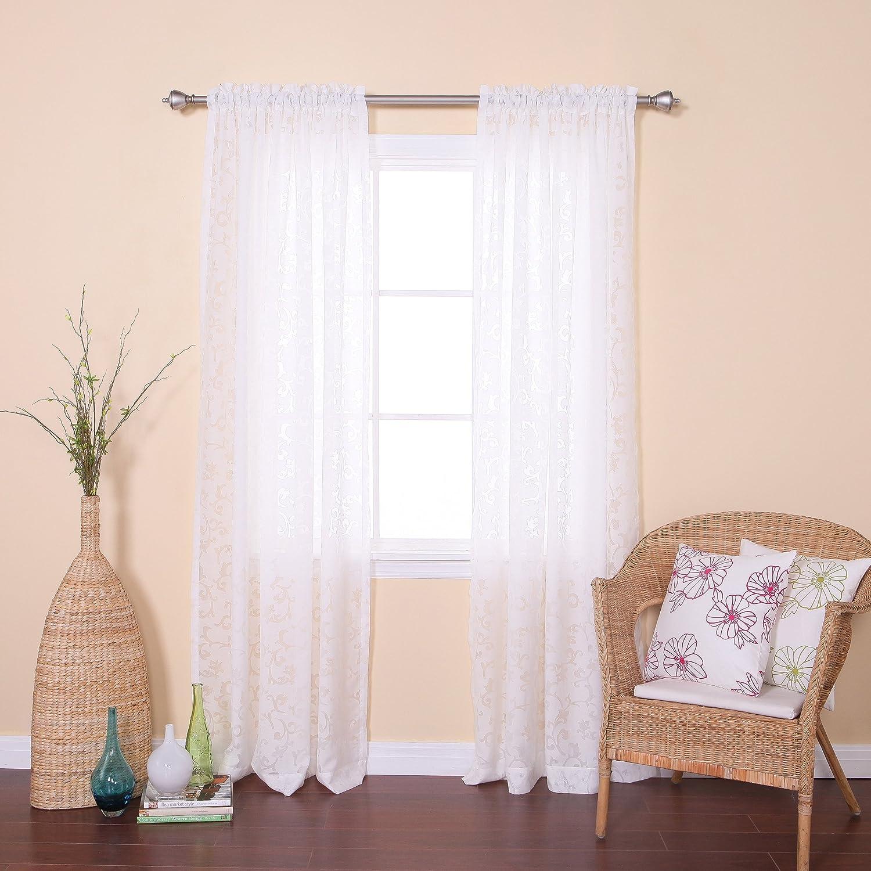Best Home Fashion Vine Burnout Sheer Curtains - Rod Pocket - White - 54