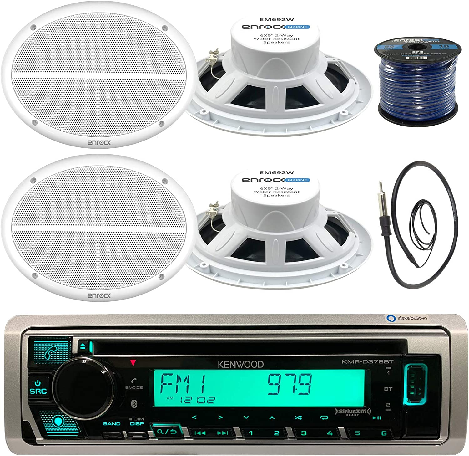 16g 50FT Marine Speaker Wire Kenwood Enrock KMR-D372BT AQ69CXS EM16G50FT-OFC EKMR1 Kenwood KMR-D375BT in-Dash Marine Boat Audio Bluetooth CD Player Receiver Bundle Combo with 4X 500 Watts 6X9-Inch 2-Way Marine Silver Coaxial Speakers Radio Antenna