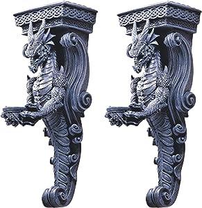 Design Toscano CL93826 Dragons of Darkmoor Castle Wall Caryatids - Set of Two,Set of 2