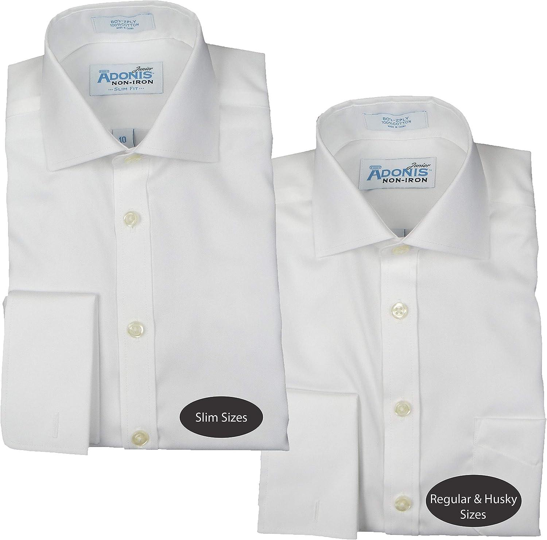 ADONIS Boys 100/% Cotton Non Iron White Pinpoint French Cuff Dress Shirt BCFT-7