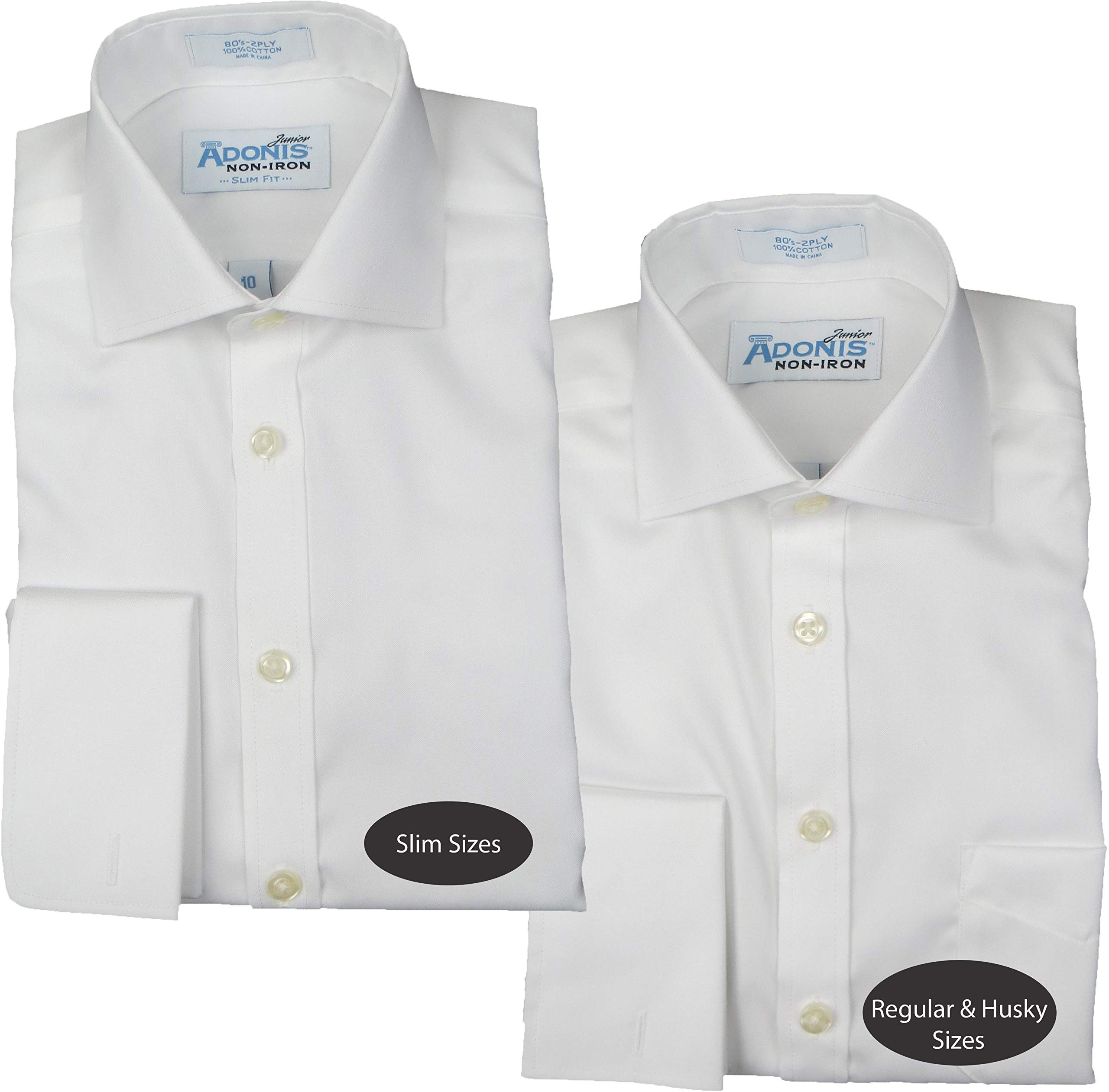 ADONIS Boys 100% Cotton Non Iron White Solid Pinpoint Long Sleeve Dress Shirt - White, 12 Husky