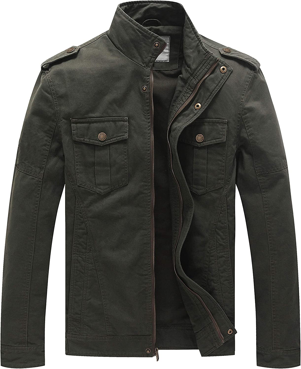 WenVen Men's Casual Washed Cotton Military Jacket