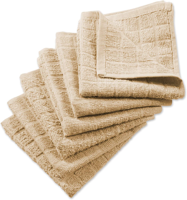 DII Cotton Terry Windowpane Dish Cloths, 12 x 12