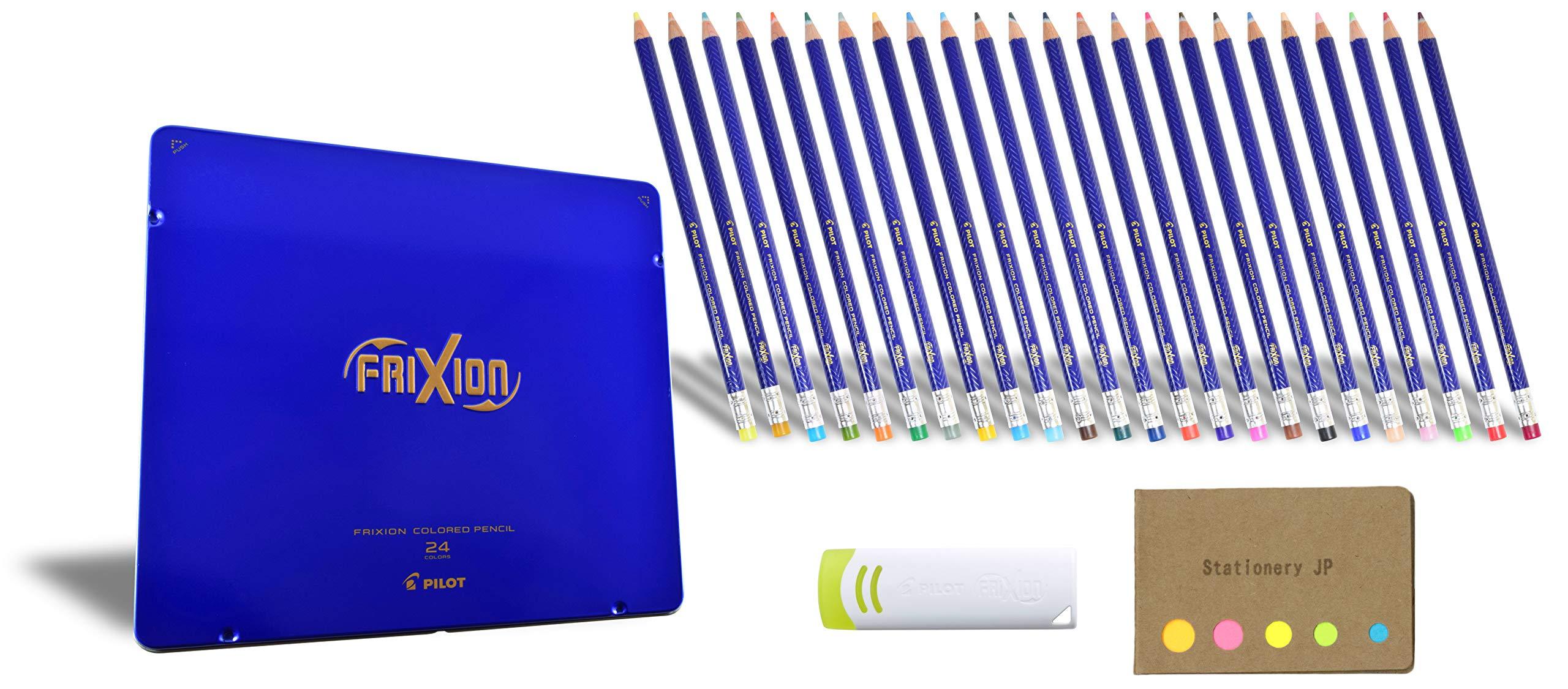 Pilot FriXion Erasable Colored Pencil 24 Color, Frixion Eraser, Pen Case, Sticky Notes Value Set by Stationery JP (Image #1)