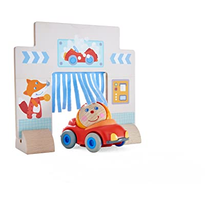 HABA Kullerbu Theme Set Drive-Thru Car Wash - with Detailed Illustrations, Red Convertible Car and Ball Hanni - Compatible with Any Wooden Railway: Toys & Games