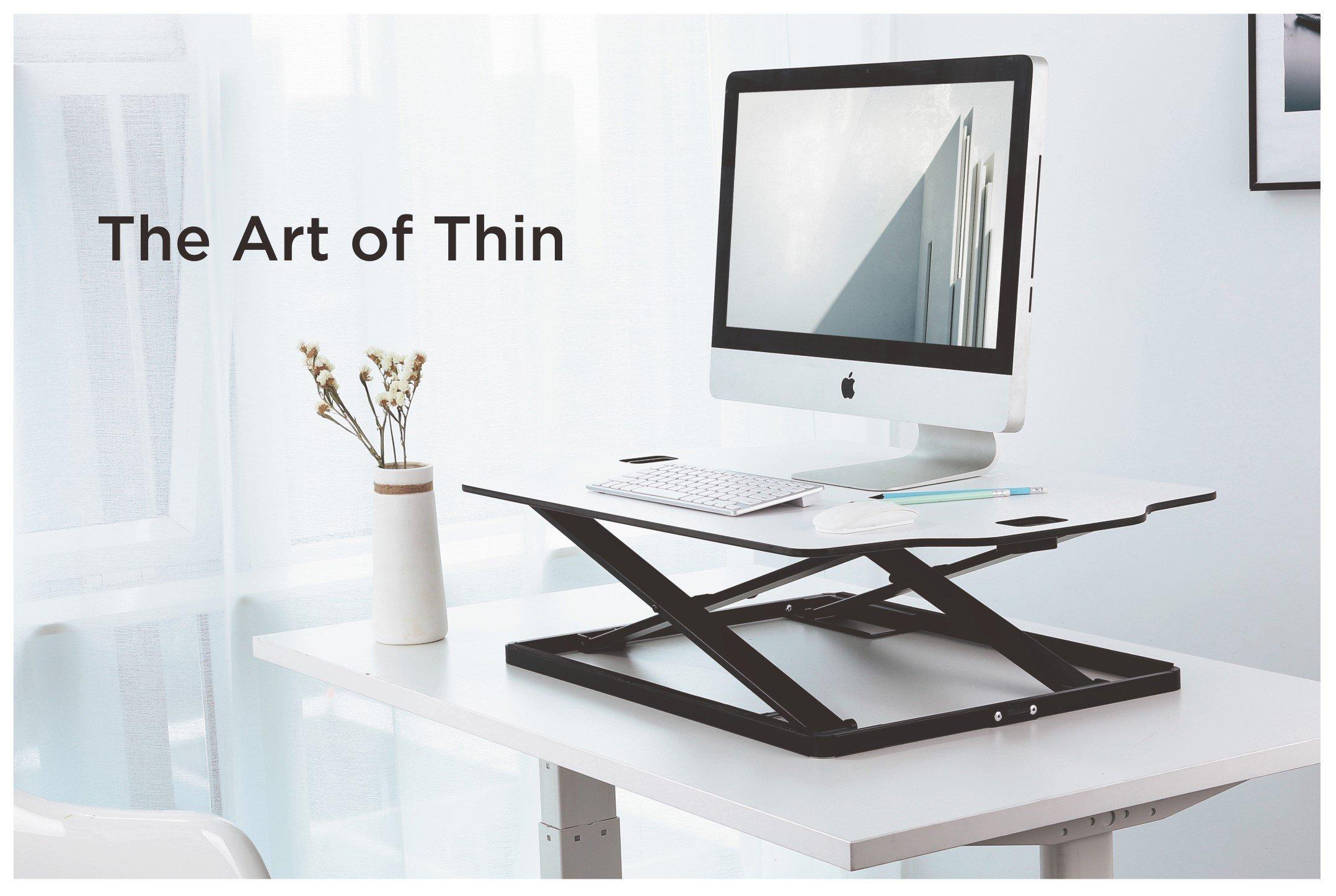 Amer EZUP 32x22 Height Adjustable Sit/Stand Desk Surface Riser, 32'' wide Tabletop Sit Stand Desk Converter, Monitor Laptop Platform Work Station - Durable White Top