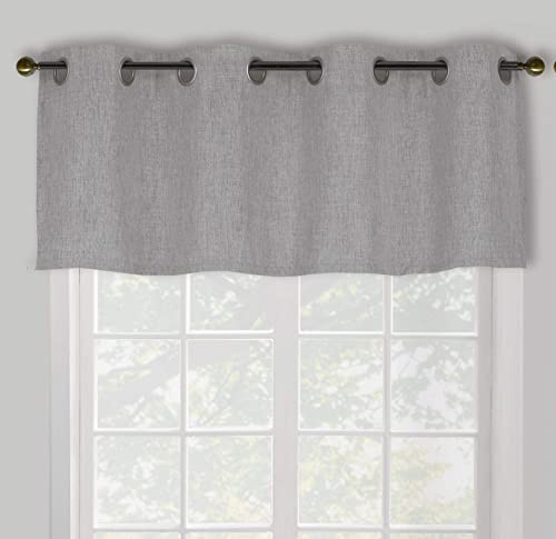 Decohongdi Faux Linen Blackout Valances for Windows with 8 Silver Grommets, Window Treatment for Bedroom, Kitchen, Bathroom, Shrinkage Easy Care 52 W x 18 L Inch, 4 Pieces, Grey