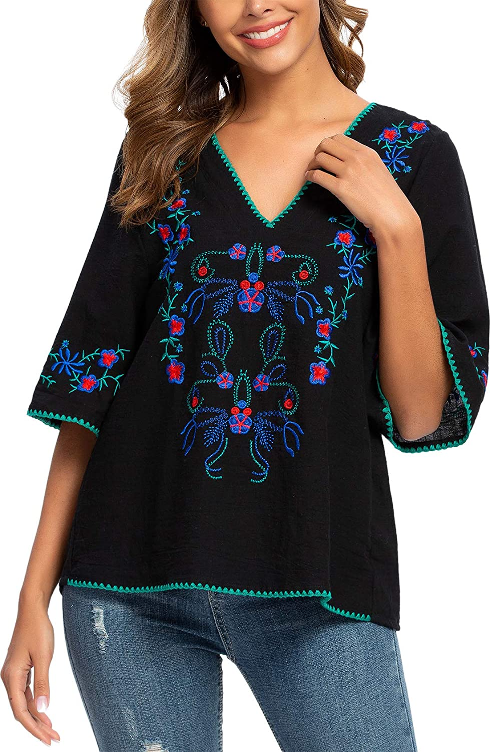 Mansy Womens Embroidery Mexican Bohemian Shirt Short Sleeve Ruffled Peasant Cotton Tops Tunic Blouses