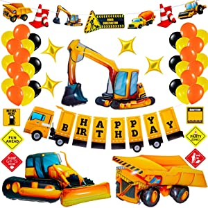 Construction Birthday Party Supplies Set Construction Party Decorations Kits Dump Truck Party Pack for Kids with Dump Truck Balloon Excavator Balloon and Bulldozer Balloon for Boys Birthday Party Decorations