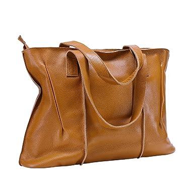 Itslife Women s Cowhide Leather Designer Handbags Purse Tote Shoulder Bags (Brown) 32349e71dbec9
