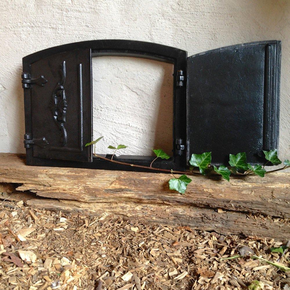 Antikas - puerta horno leña antiguo - puerta de hierro fundido estufa pizza - puerta horno de piedra - horno de pan: Amazon.es: Jardín