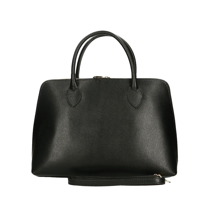 Aren - Damenhandtasche aus echtem Leder made in Italy - 37x27x12 Cm Schwarz