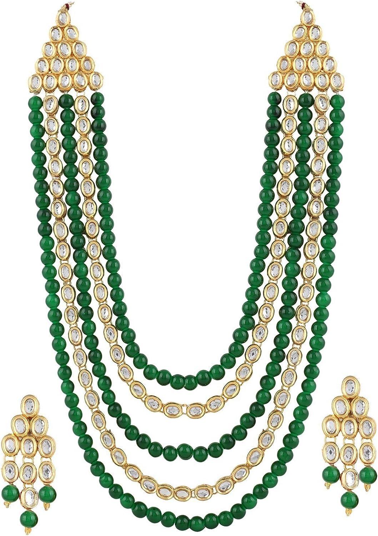 Ddivaa Elegant Green Pearls Rich Kundan Indian Bollywood Wedding Wear Necklace Set