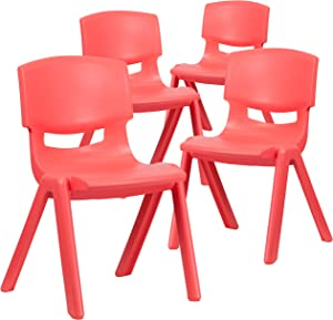 Flash Furniture 4 Pack Red Plastic Stackable School Chair with 15.5'' Seat Height