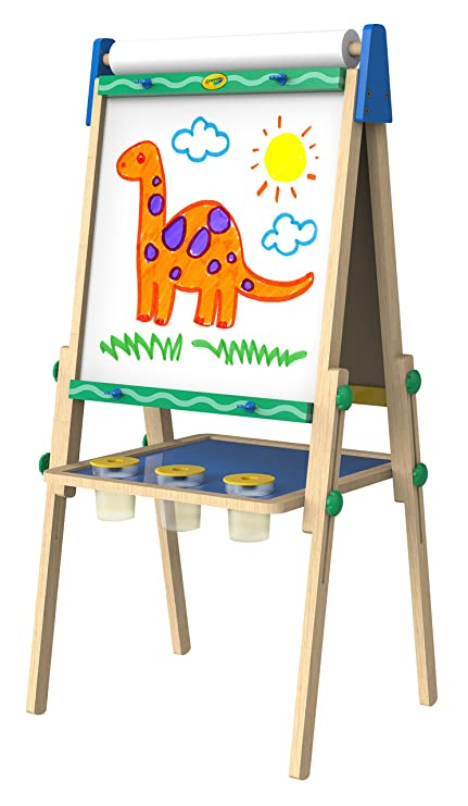 amazon com crayola kid s wooden easel dry erase board and
