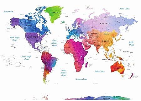 Cartina Geografica Del Mondo Grande.Stylish Living Mappamondo A Colori Planisfero Grande