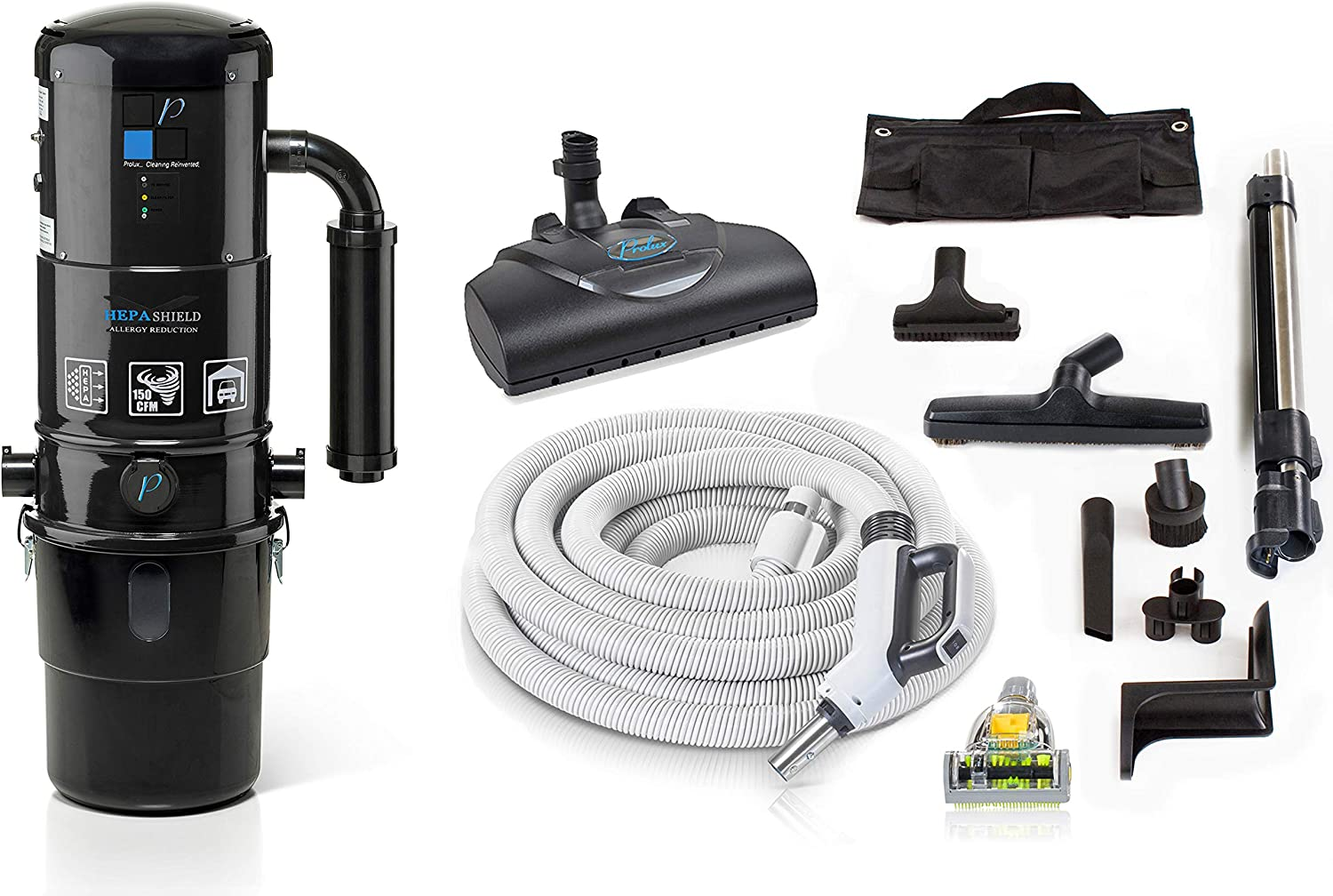 Prolux CV12000 Black Central Vacuum Unit System with Prolux Electric Hose Power Nozzle Kit and 25 Year Warranty