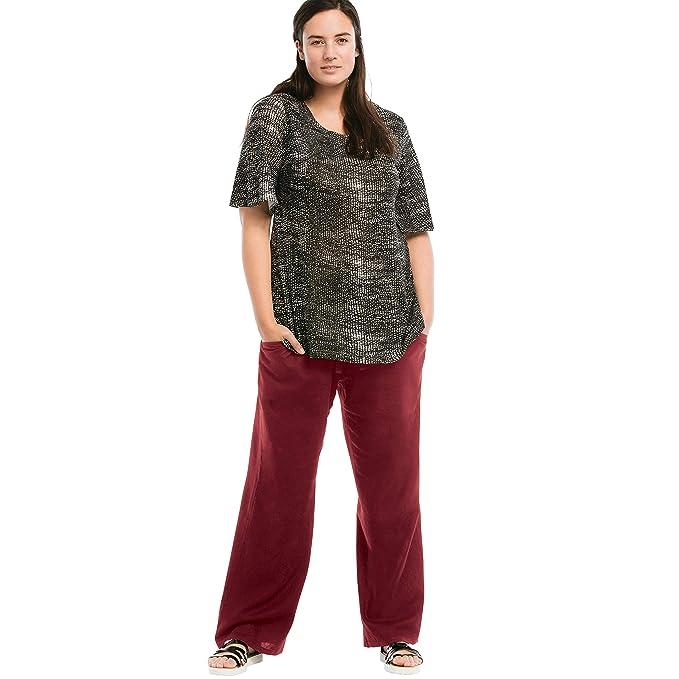 Ellos Women\'s Plus Size Linen Blend Wide Leg Pants