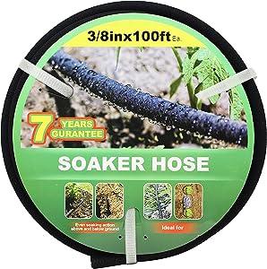 Garden Soaker Hose -Garden Hose 100 ft with 3/8'' Diameter Interface- Saves 70% water Great for gardens/flower beds/Seedling(3-8-100FT)