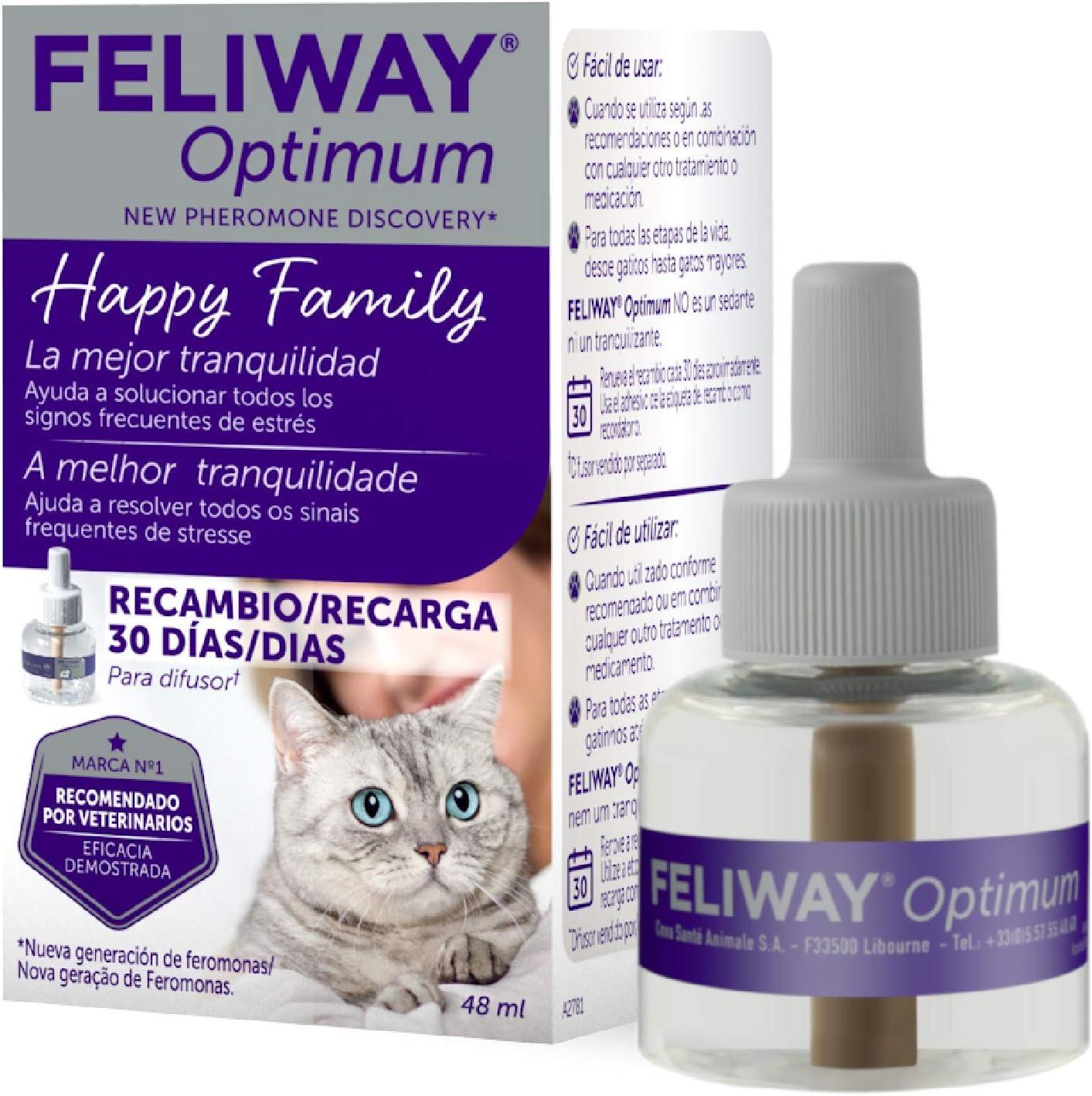 FELIWAY Optimum - Nueva Generación de Feromonas - Soluciona todos los signos de estrés del gato - Arañazos, miedos,cambios, marcaje con orina, tensiones y conflictos entre gatos - Recambio 48ml