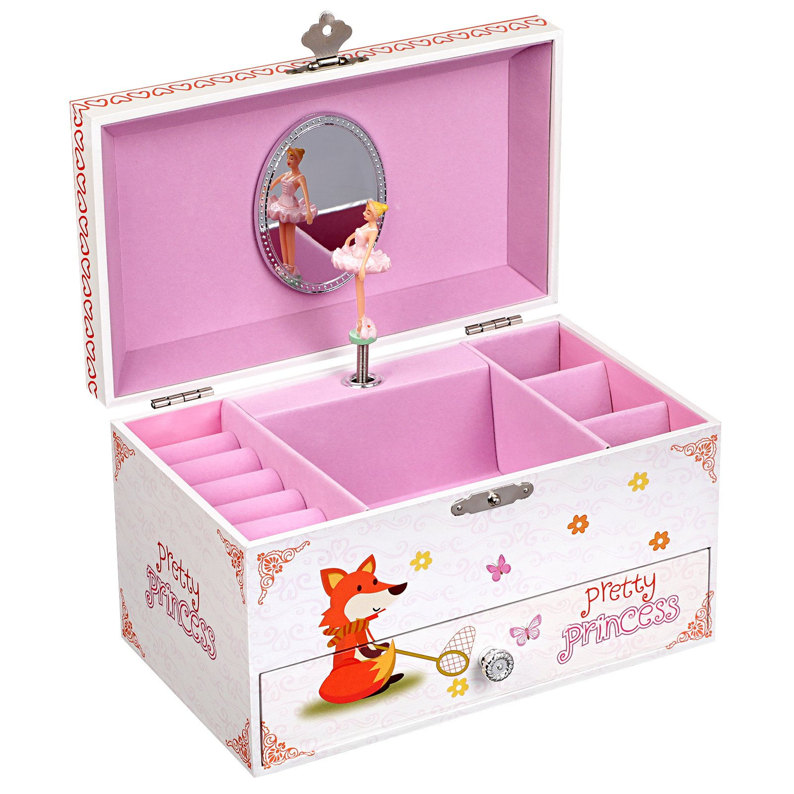 SONGMICS Ballerina Music Jewelry Box for Little Girls, Musical Box with Drawer, Dancing Princess, White UJMC010WT