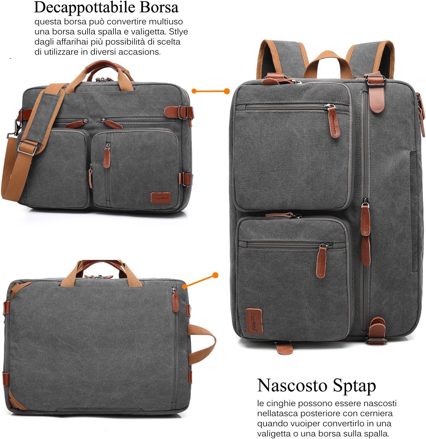 Lifewit 15.6 pollici IMPERMEABILE Cerato Tela Laptop Messenger bag vintage in pelle