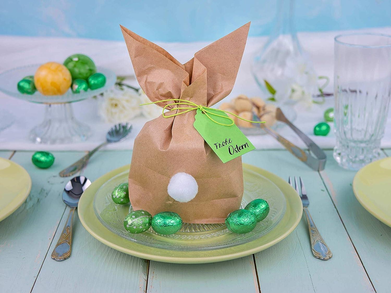 Papierdrachen 12 Osterhasen zum selber Basteln und Bef/üllen Kordel und Pompons Blau f/ür Jungen Kreatives Geschenk zu Ostern mit 12 Papiert/üten