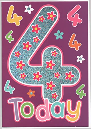 Childrens Birthday Card For Four 4 Year Old Girl