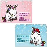 Weihnachtsgrüße Teenager.5 X 4 Weihnachts Postkarten Mit Süßem Einhorn Motiv I Post Karten