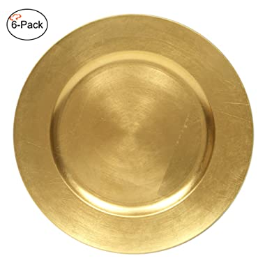Tiger Chef 13-Inch Gold Metallic Charger Plates Set of 2,4,6, 12 or 24 Dinner Chargers (6-Pack)