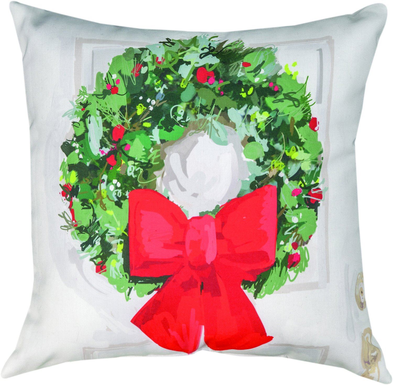Indoor/Outdoor Throw Pillow, White Christmas Wreath,