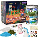 ZUBAT Unicorn Terrarium Kit with Light Up, DIY Unicorn Micro Landscape with Flash Craft Set in Jar, Educational Garden…